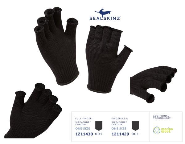 SEALSKINZ Merino Glove Liner Fingerless